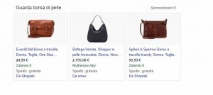 snippet google shopping con advertising online